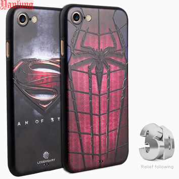 Phone Cases Fundas Coque for iPhone 7 6 6S Plus SE 5 5S 3D Relief Soft Silicon Painting Cover Superman Captain America Ironman