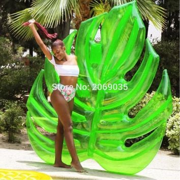 180cm Giant Hawaii Palm Tree Green Leaf Inflatable Float Pool Raft Foliage Floats Water Party Toys Swimming Ring For Adult Child