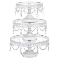 3-Piece Glass Top Crystal Cake Stand Set (White)