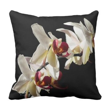 Three White and Burgundy Orchids Photograph Throw Pillow