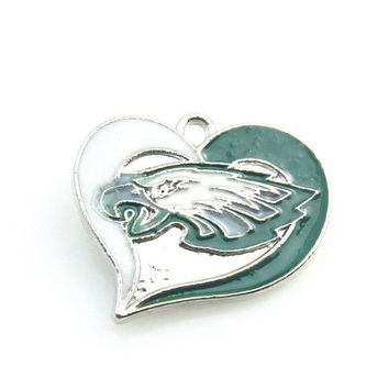 Newest Heart Philadelphia Eagles team logo Dangle pendant Alloy Enamel Football Pendant necklace For DIY Sports Jewelry