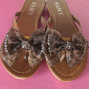 Raawwr Leopard Print Big Bow Top Sandals