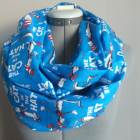 Dr. Seuss Blue Cat In the Hat Cotton Infinity Scarf