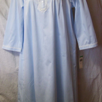 Winter, Satin Nightgown, Brushed Lined, Miss Elaine, Powder Blue, Size L Large, Warm Cozy Sleepwear