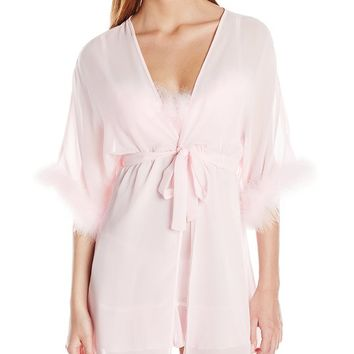 Cinema Etoile Women's Ava Chiffon Badydoll and Robe Set, Petal Pink, Large
