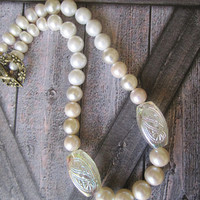 Faux Pearls and Freshwater Pearl Statement Necklace