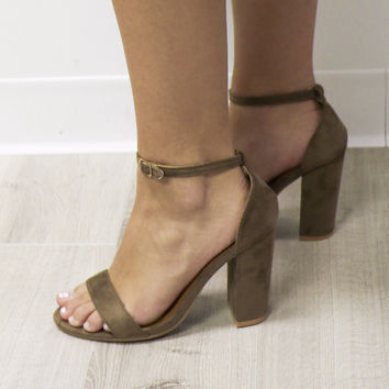 Run Away With Me Taupe Single Strap Heels