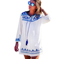 Autumn tshirt dress Fashion Long Sleeve O-neck Printed Dress  PLus SIze Casual  Loose Women Dress Vestidos SYHD655