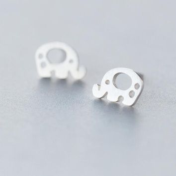 cute Real. 925 Silver Hollow elephant stud Earrings animal jewelry sterling silver 10mm*7MM GTLE1024