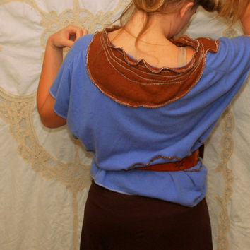 Upcycled cashmere sweater - hippie dolman top -  repurposed hippie tunic womens clothing - fiber art