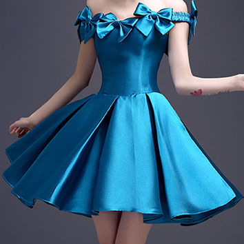 Doger Blue Bowknot Off Shoulder Lace Up Back Homecoming Dress