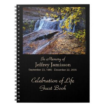 Celebration of Life Guest Book, Autumn Waterfall Notebook