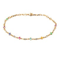 Yellow Gold- Filled Multi- Color CZ Square Anklet