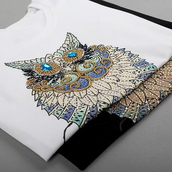 2019 Fashion Vintage Summer T Shirt Women Clothing Tops Beading Diamond Sequins Animal Owl Print T-shirt Woman Clothes plus size