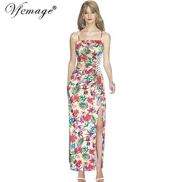 Vfemage Women 2017 Summer Sexy Bohemia Floral Print Ruched Drape See Through Front High Split Party Casual Beach Long Dress 6036