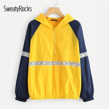Trendy SweatyRocks Letter Print Raglan Sleeve Hoodie Jacket Multicolor Sporting Colorblock Coat Women Summer Autumn Oversized Outwear AT_94_13