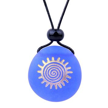 Amulet Frosted Sea Glass Stone Positive Magic Energy Sun Good Luck Powers Royal Blue Adjustable Necklace
