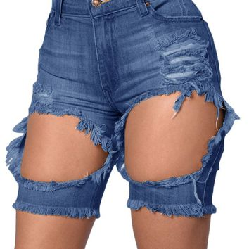 Denim Trousers 2016 Summer Ladies Adult Tint Blue Destroyed Cutoff Bermuda Shorts Jeans Feminino Cintura Alta LC78657