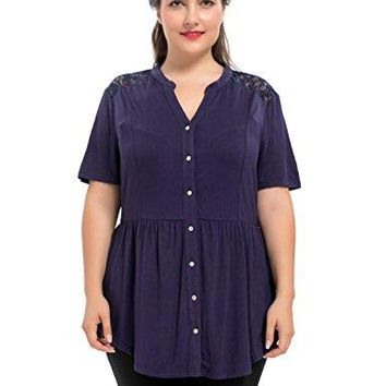Chicwe Womens Plus Size Stretch Lace Shoulders Button Down Peplum Top Blouse