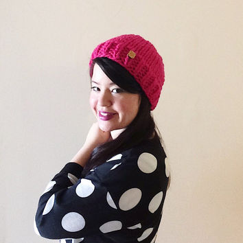 Classic fit - Solid color custom chunky knitted hipster hat beanie -  made with Hot Pink 100% wool