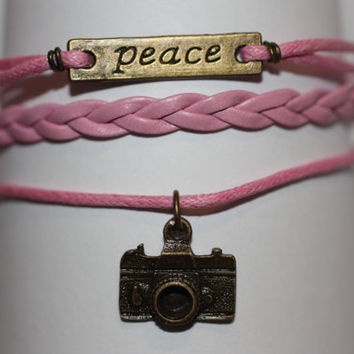 SHINE~ Handmade Peace Camera Charm Pink Leather Wedding Photographer Gift Multilayer Handcrafted Bracelet ilovecheesygrits
