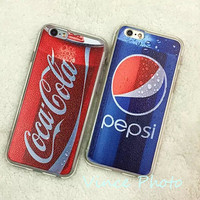 New Drink Beverage Coca Pepsi Brand Logo Rubber TPU silicon soft Case for iphone 5 5s 6 6 plus Protective Cover coque capa funda