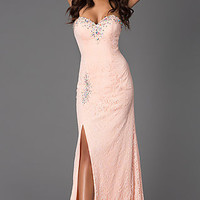 Strapless Sweetheart Lace Dress with Ruched Waist