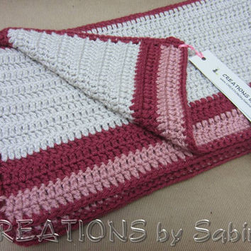 "Handmade Crochet Afghan, Throw Lap Blanket, 36x42"", Stripes, Burgundy Pink Warm Gray Grey Fusia Antique Rose Soft Warm Classic READY TO SHIP"