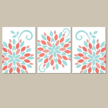 CORAL AQUA Wall Art, Emma Girl Nursery Decor, Canvas or Prints Bedroom Pictures, Flower Burst Pictures, Dahlia Set of 3 Crib Decor Pictures