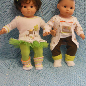"""American Girl Bitty TWINS clothes Bitty Baby clothes """"My Little Farm"""" (15 inch) Boy and Girl Twins Set doll outfit farm animals"""