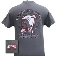 MSU Mississippi State Bulldogs Bowtie Bully Girlie Bright T Shirt