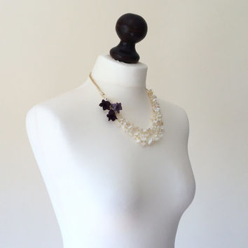 Wedding Jewelry, Crochet Statement Necklace, Ivory Natural Stones and Purple Flowers, Bib Necklace, Beadwork, ReddApple, Gift Ideas For Her