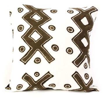 African White Mud Cloth Pillow -Ladder