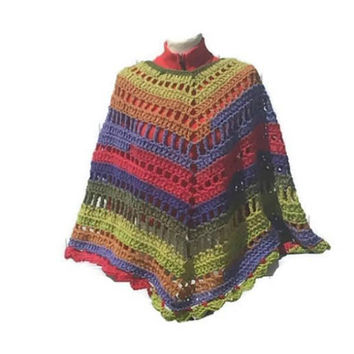 Colorful Poncho Shawl Wrap Hippie Bogo Poncho Retro Fashion  Pattern Digital PDF File Only Is Not a Finished Product