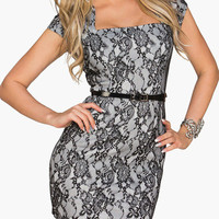 Cap Sleeve Square Neckline Floral Lace Bodycon Mini Dress