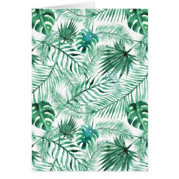 Tropical Palm Tree Leaves Pattern Greeting Card