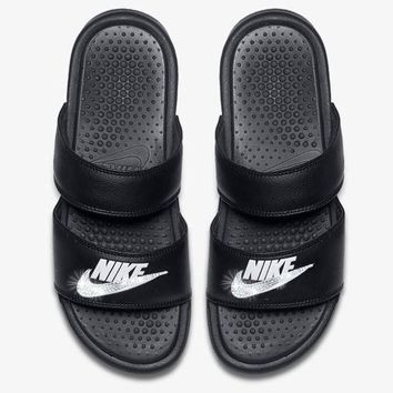 Nike Benassi Duo Ultra Sandals / Slides + Crystals - Black