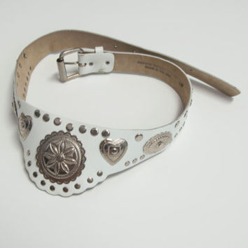 Vintage White & Sterling Silver Concho Belt / Womens S M Navajo Biker Rocker Southwest Genuine Leather / Classic Rock Couture Vintage Shop