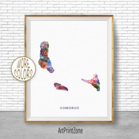 Comoros Art, Watercolor Map, Comoros Map Art, Office Wall Decor, Office Wall Art, Living Room Art, Map Decor, Map Wall Art Print Zone