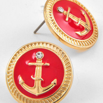 Red Anchor Button Earrings