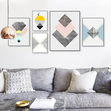 Modern Nordic Abstract Geometric Texture Shape Big Wall Art Poster Print Canvas No Frame Living Room Home Decor Picture Painting