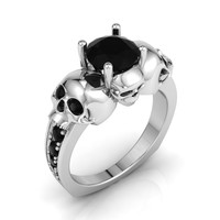 Skull Engagement Ring New Price Solid Silver!