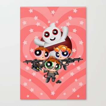 Cute Power Ghost Buster Puff Girl Squad Canvas Print by Greenlight8