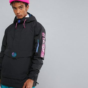 O'Neill Reissue Frozen Overhead Insulated Ski Jacket Hooded in Black at asos.com