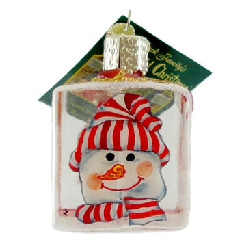 Old World Christmas SNOWMAN PALS Glass Ornament Inside Out Art Snowman 99505