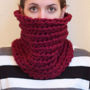 Burgundy Chunky Neck Warmer, Extra Tall Chunky Cowl Scarf, Crochet Neck Warmer, Dark Red Infinity Scarf, Chunky Crochet Circle Scarf