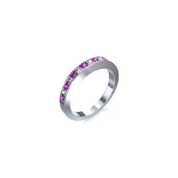 Pink Sapphire Ring Eternity Band, Diamond Ring, Diamond Wedding Ring, Pink Engagement, Sapphire, Wedding Ring, Pink Sapphires