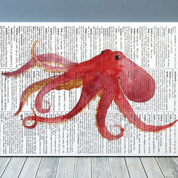 Octopus poster Beach house art Watercolor print Marine print RTA1965