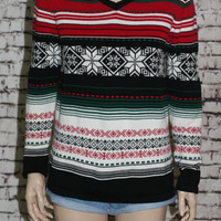 90s knit sweater jumper hipster cosby snowflake ski snowoard ugly Christmas XS S holiday party  green red white black