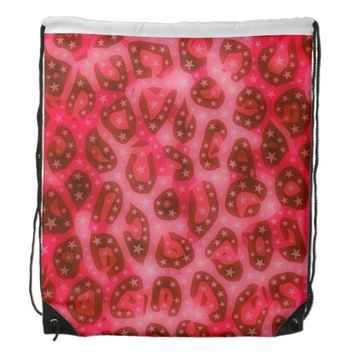 Red Pink Glowing Cheetah Drawstring Backpack
